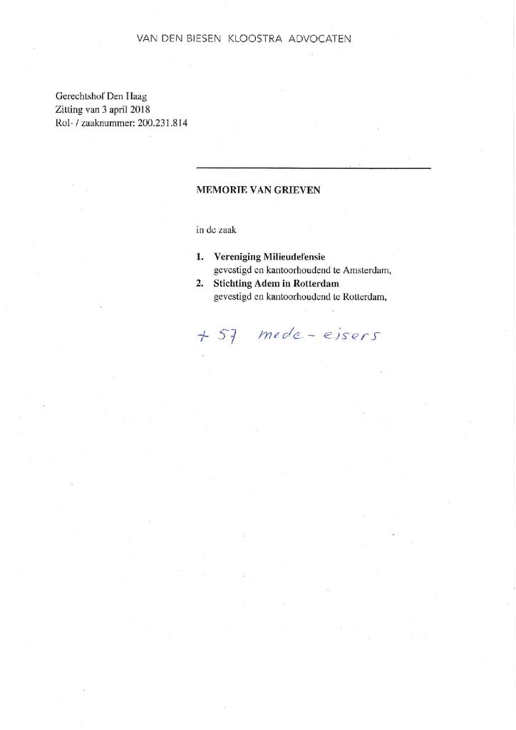 Voorbeeld van de eerste pagina van publicatie 'Memorie van Grieven van Milieudefensie in hoger beroep bodemprocedure'