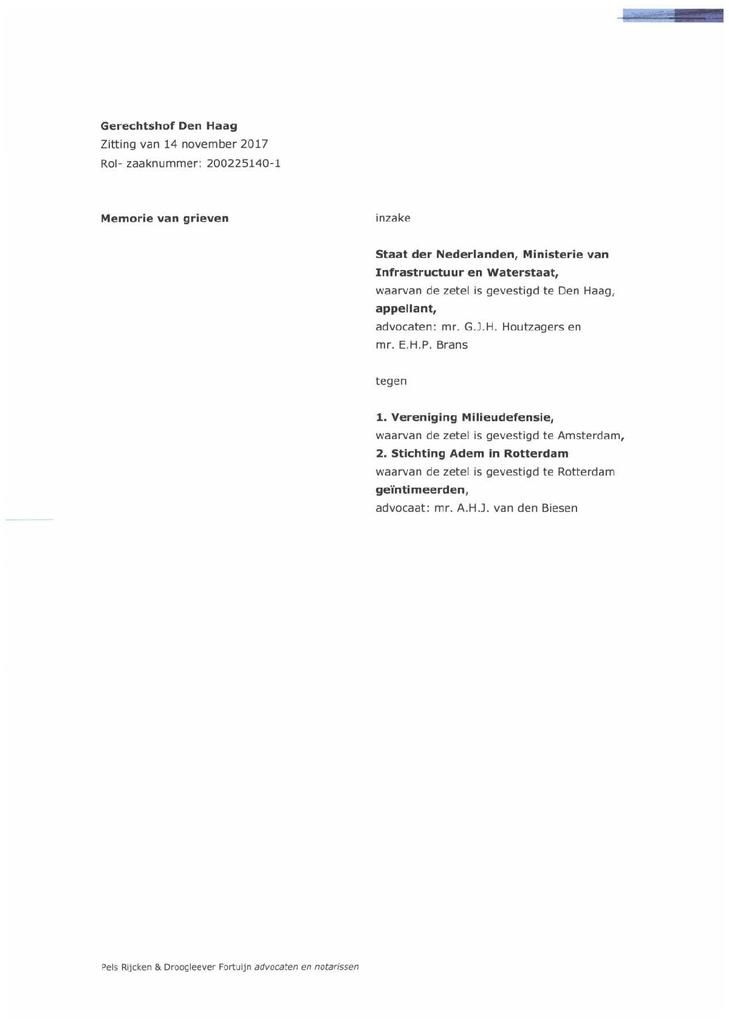 Voorbeeld van de eerste pagina van publicatie 'Memorie van grieven'