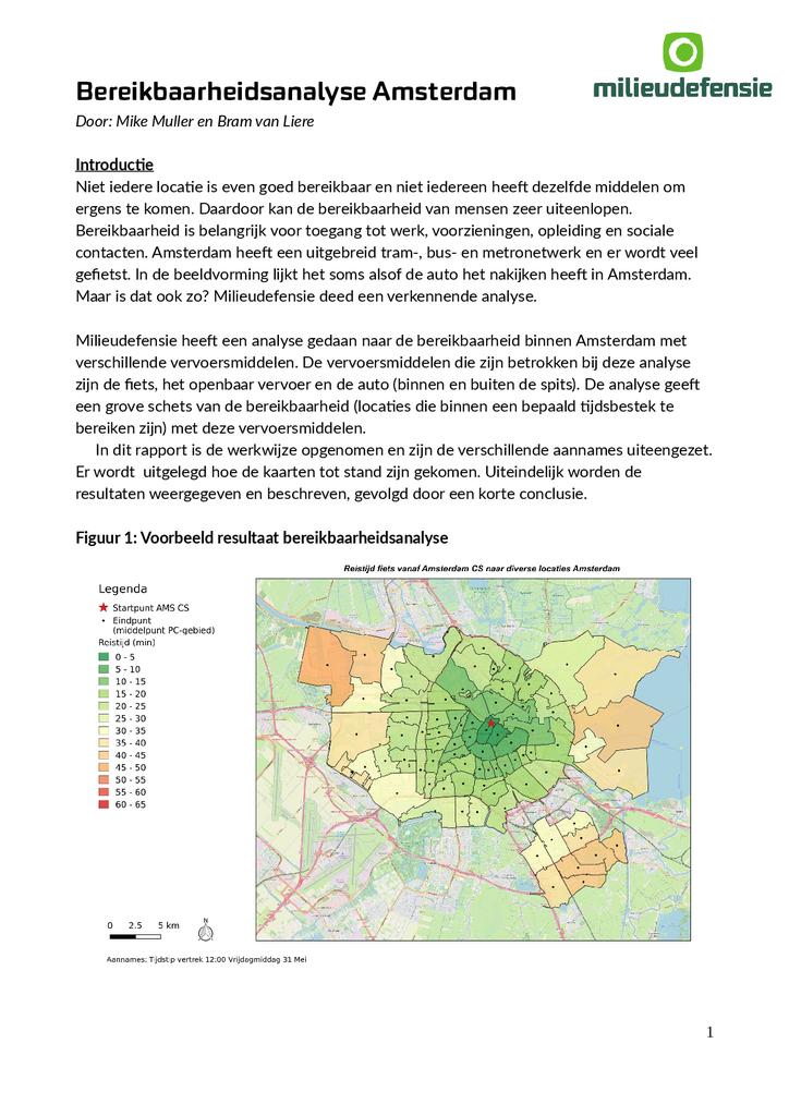 Voorbeeld van de eerste pagina van publicatie 'Methodebeschrijving van analyse over bereikbaarheid in het verkeer'