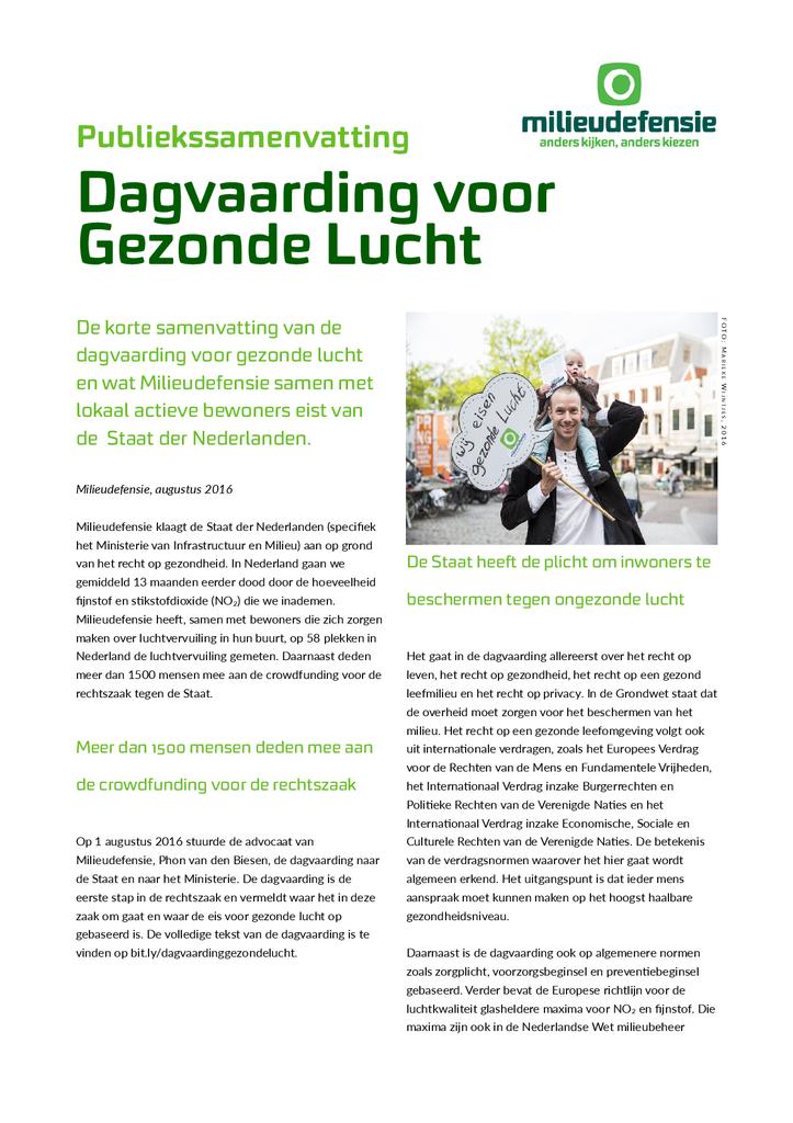 Voorbeeld van de eerste pagina van publicatie 'Dagvaarding recht op gezonde lucht'
