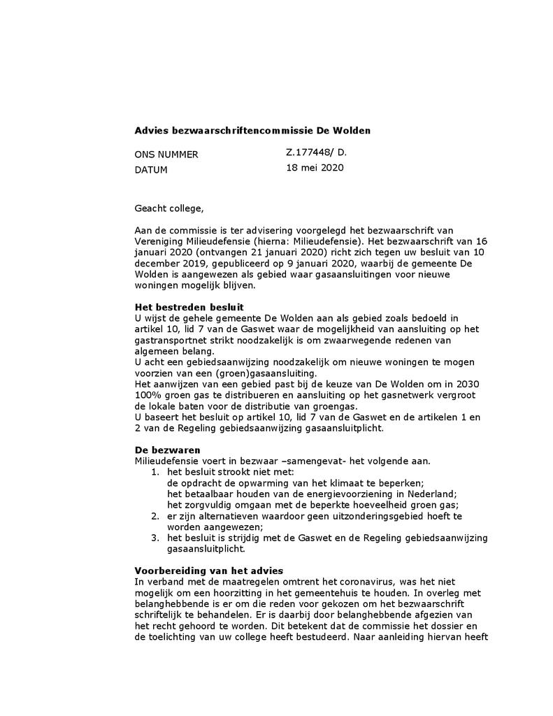Voorbeeld van de eerste pagina van publicatie 'Advies bezwaarschriftencommissie de Wolden over gasaansluitingen nieuwe woningen'