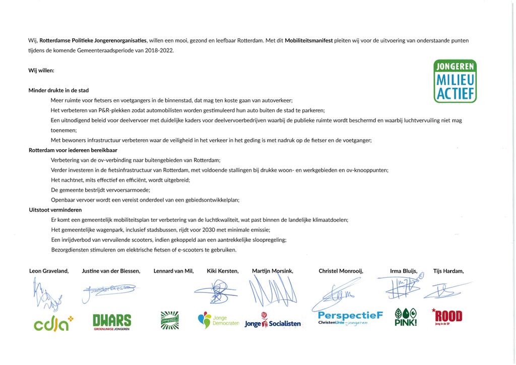 Voorbeeld van de eerste pagina van publicatie 'Mobiliteitsmanifest Rotterdam'