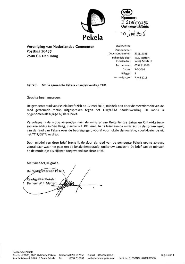 Voorbeeld van de eerste pagina van publicatie 'Motie TTIP Pekela'