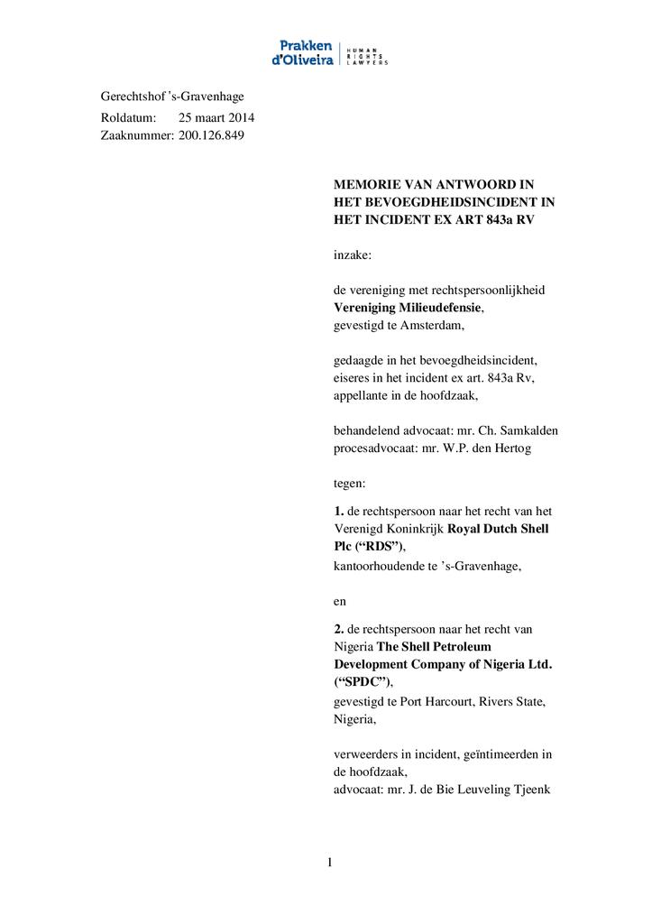 Voorbeeld van de eerste pagina van publicatie 'Shell rechtszaak: Memorie van antwoord bevoegdheidsincident Ikot Ada Udo'