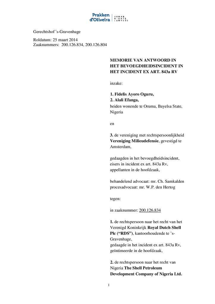 Voorbeeld van de eerste pagina van publicatie 'Shell rechtszaak: Memorie van antwoord bevoegdheidsincident Oruma'