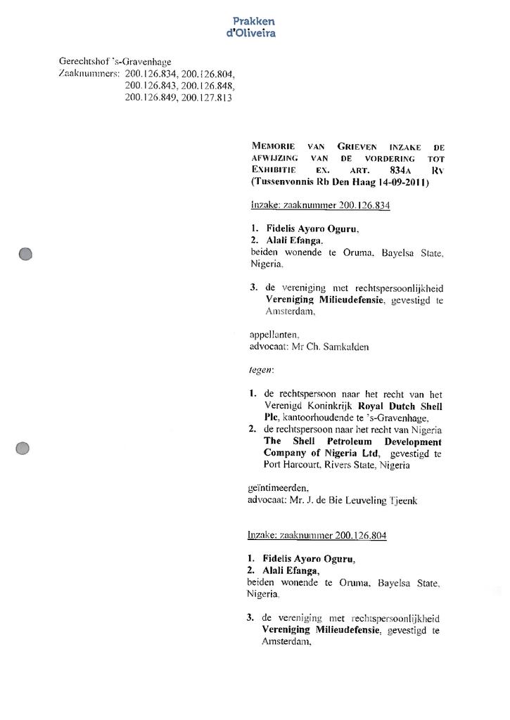 Voorbeeld van de eerste pagina van publicatie 'Shell rechtszaak: Memorie van grieven van de appelanten in hoger beroep'