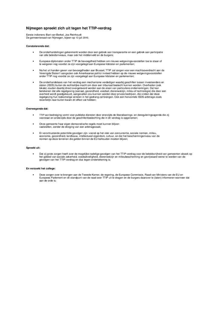 Voorbeeld van de eerste pagina van publicatie 'Motie TTIP Nijmegen'