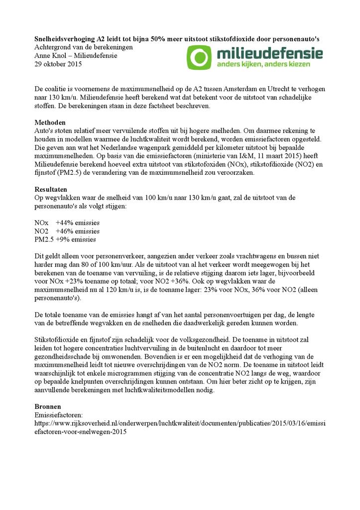 Voorbeeld van de eerste pagina van publicatie 'Snelheidsverhoging A2: bijna 50% meer uitstoot stikstofdioxide'