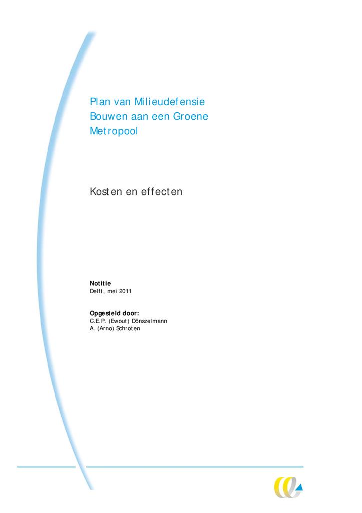 Voorbeeld van de eerste pagina van publicatie 'Notitie Kosten en effecten 'Bouwen aan een groene metropool''