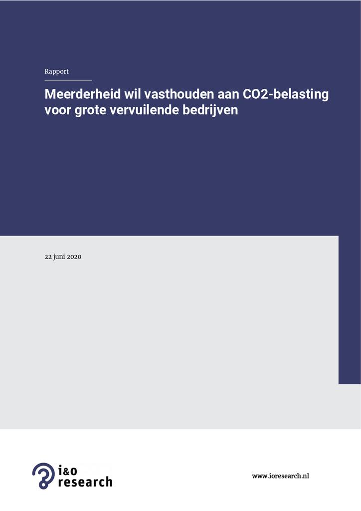 Voorbeeld van de eerste pagina van publicatie 'Opiniepeiling over CO2-belasting voor grote vervuilende bedrijven'