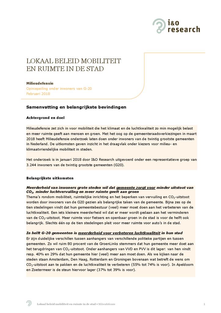 Voorbeeld van de eerste pagina van publicatie 'Onderzoek: Lokaal beleid mobiliteit en ruimte in de stad'
