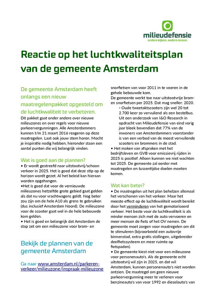 Voorbeeld van de eerste pagina van publicatie 'Onze reactie op Amsterdamse plannen tegen luchtvervuiling'