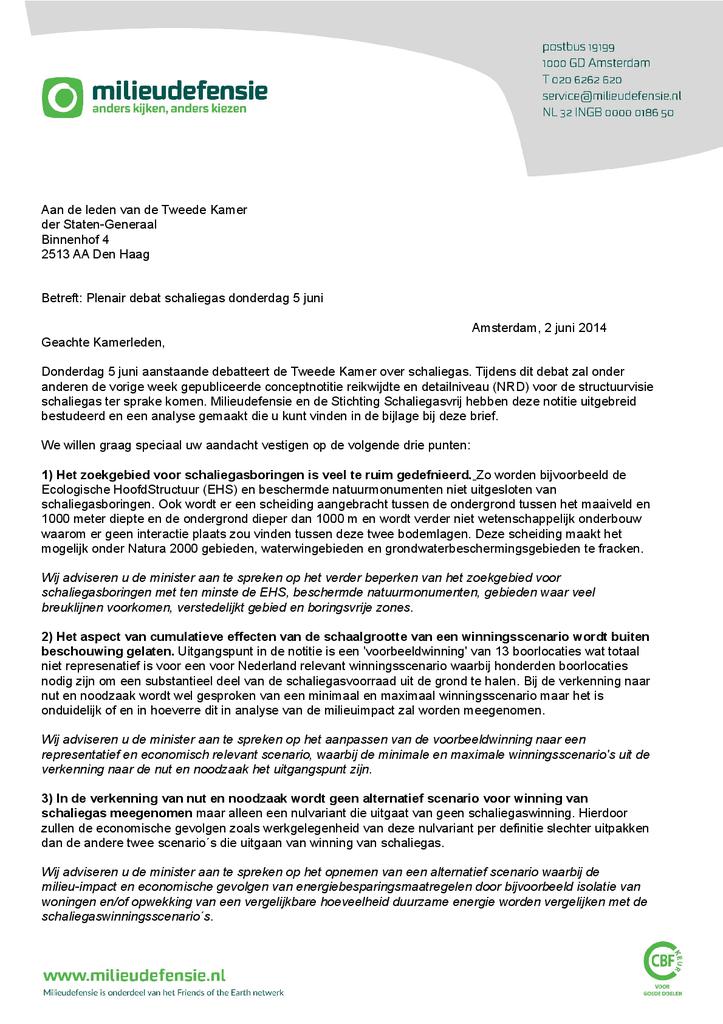Voorbeeld van de eerste pagina van publicatie 'Onze reactie op de nieuwe structuurvisie schaliegas'