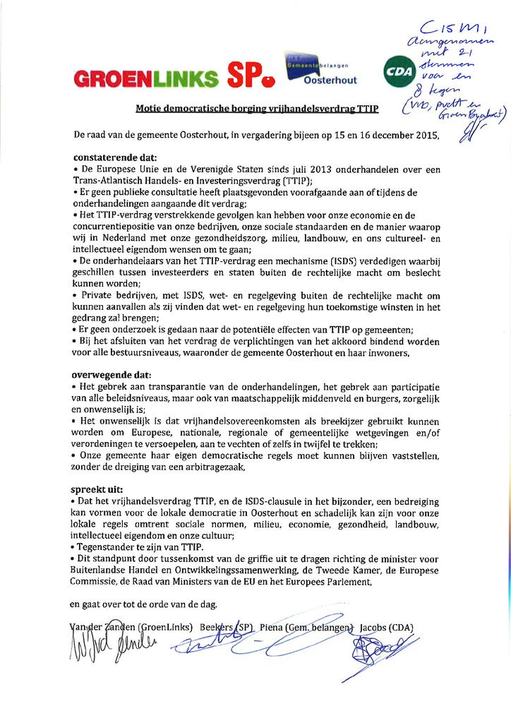 Voorbeeld van de eerste pagina van publicatie 'Motie TTIP Oosterhout'