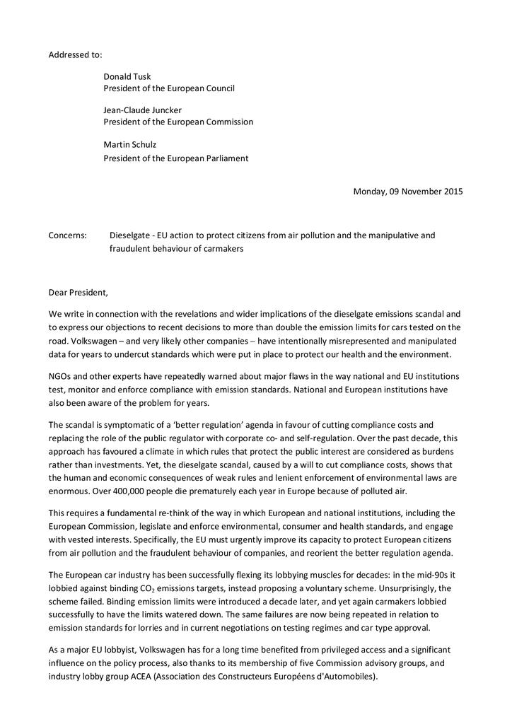 Voorbeeld van de eerste pagina van publicatie 'Open brief van 35 organisaties over dieselgate'