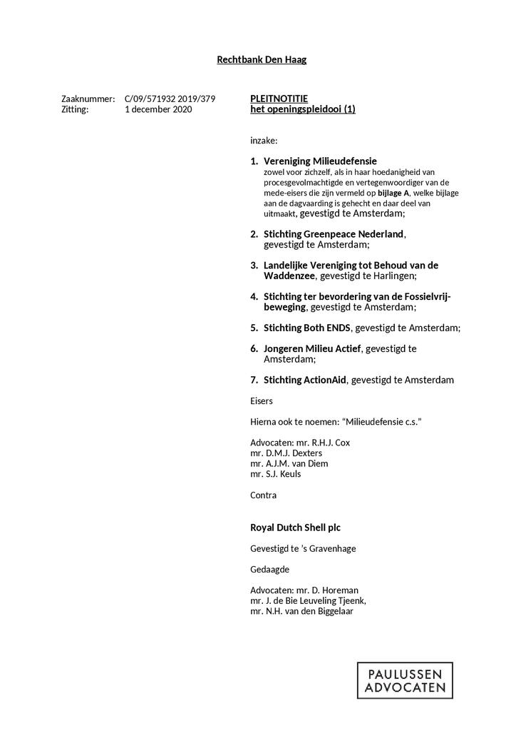 Voorbeeld van de eerste pagina van publicatie 'Pleidooien Klimaatzaak Shell'