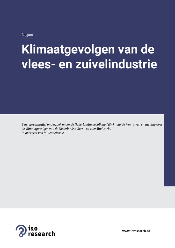 Voorbeeld van de eerste pagina van publicatie 'Opiniepeiling: klimaatgevolgen van de vlees- en zuivelindustrie'