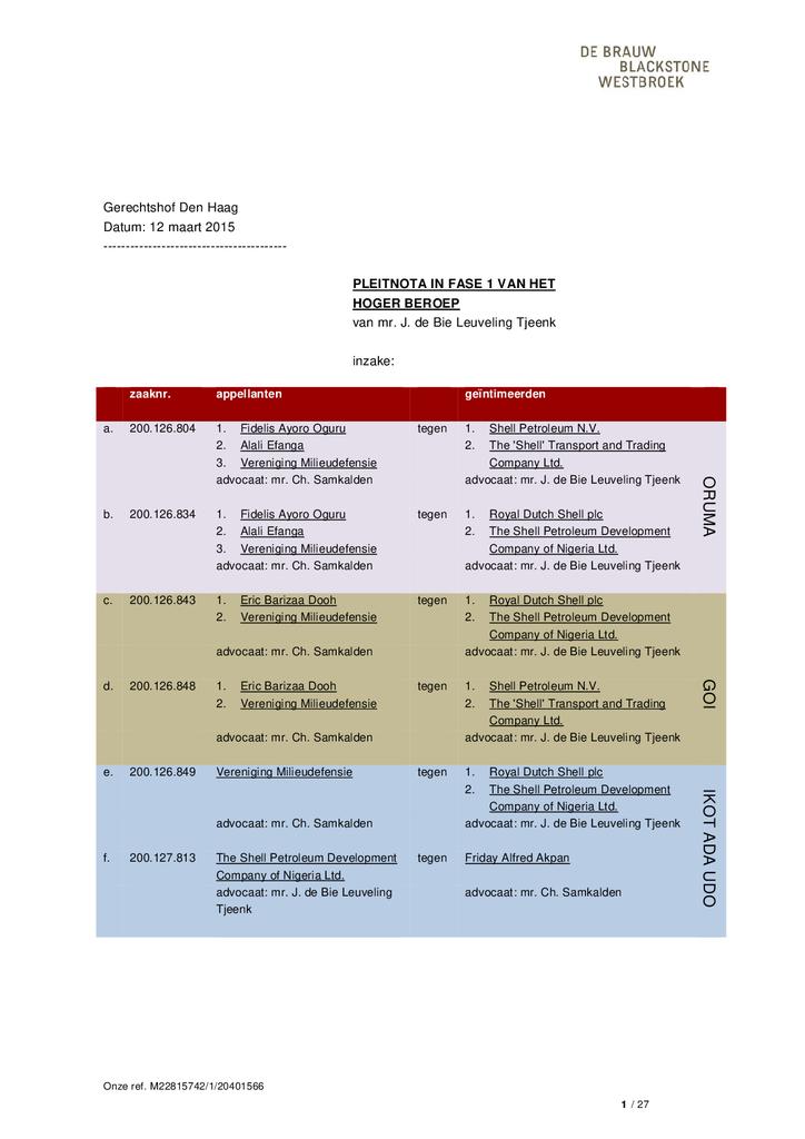 Voorbeeld van de eerste pagina van publicatie 'Shell rechtszaak: Pleidooi Shell 12 maart 2015'