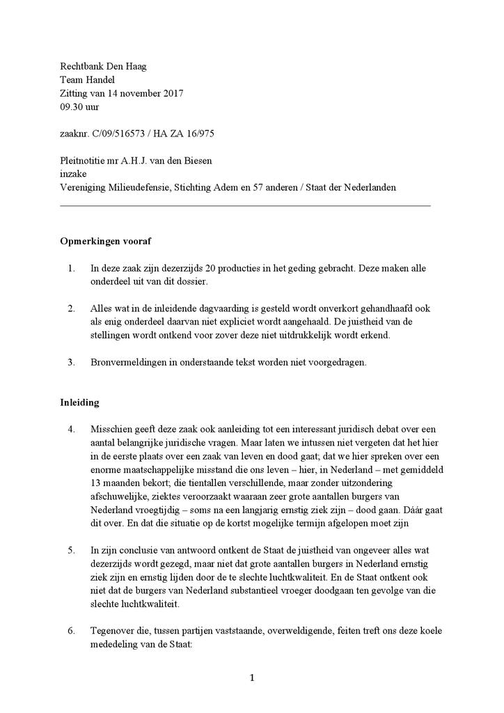 Voorbeeld van de eerste pagina van publicatie 'Pleitnota bodemprocedure recht op gezonde lucht'