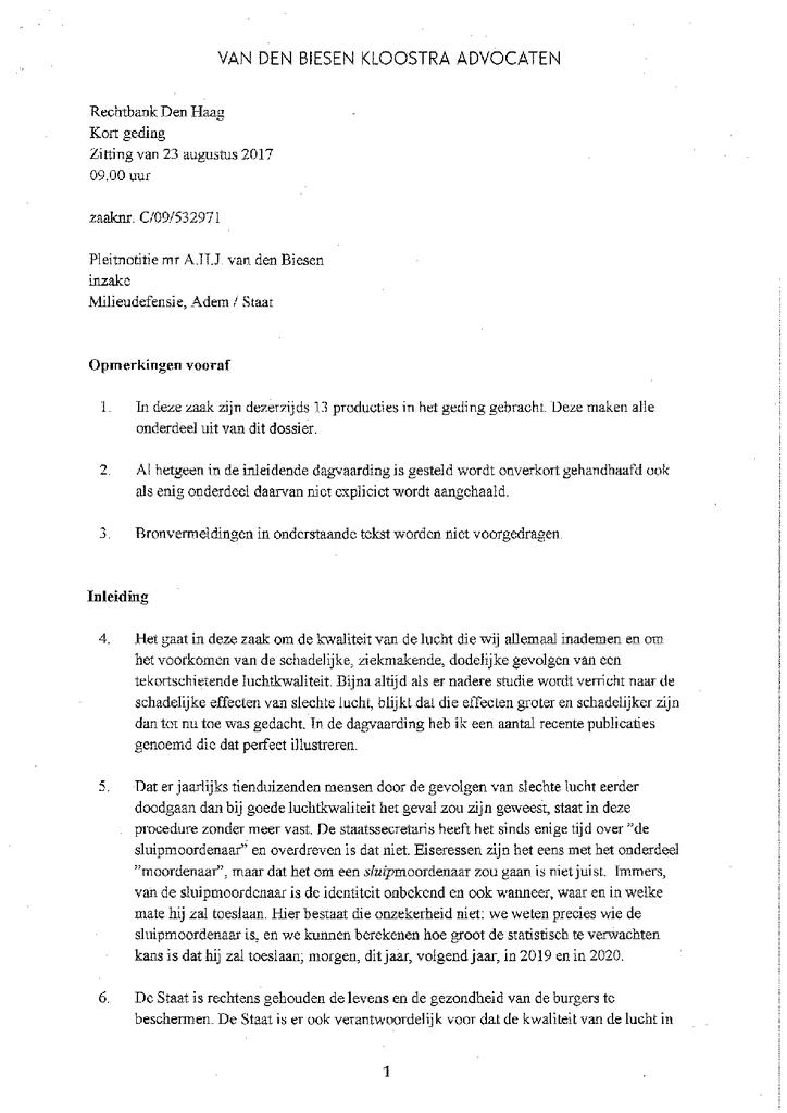 Voorbeeld van de eerste pagina van publicatie 'Pleitnota Milieudefensie kort geding'