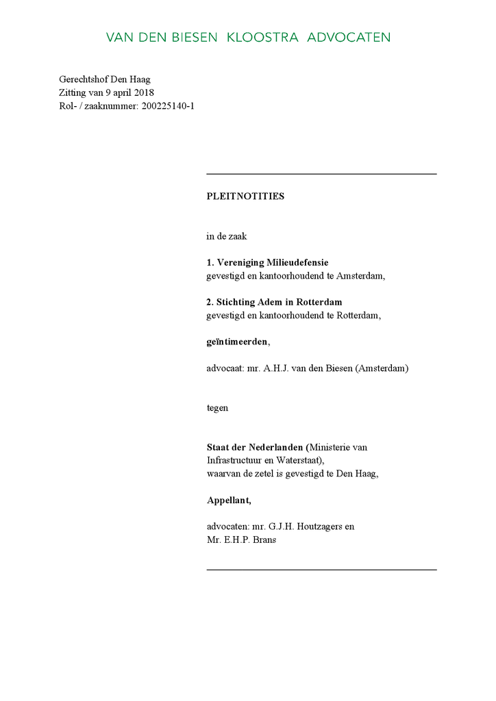 Voorbeeld van de eerste pagina van publicatie 'Pleitnotities van Milieudefensie in hoger beroep kort geding'