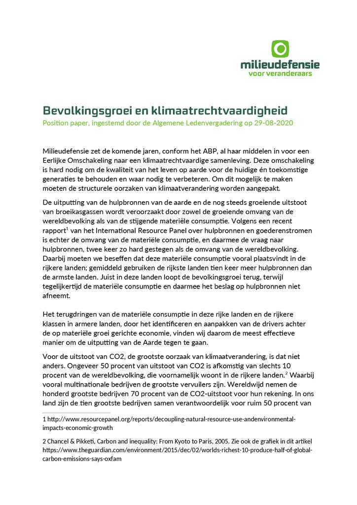 Voorbeeld van de eerste pagina van publicatie 'Position paper: bevolkingsgroei en klimaatrechtvaardigheid'