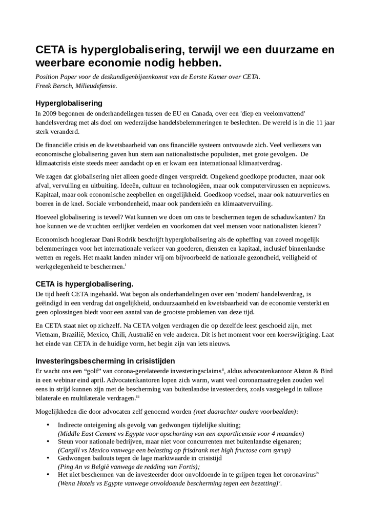 Voorbeeld van de eerste pagina van publicatie 'Position Paper 'CETA is hyperglobalisering''