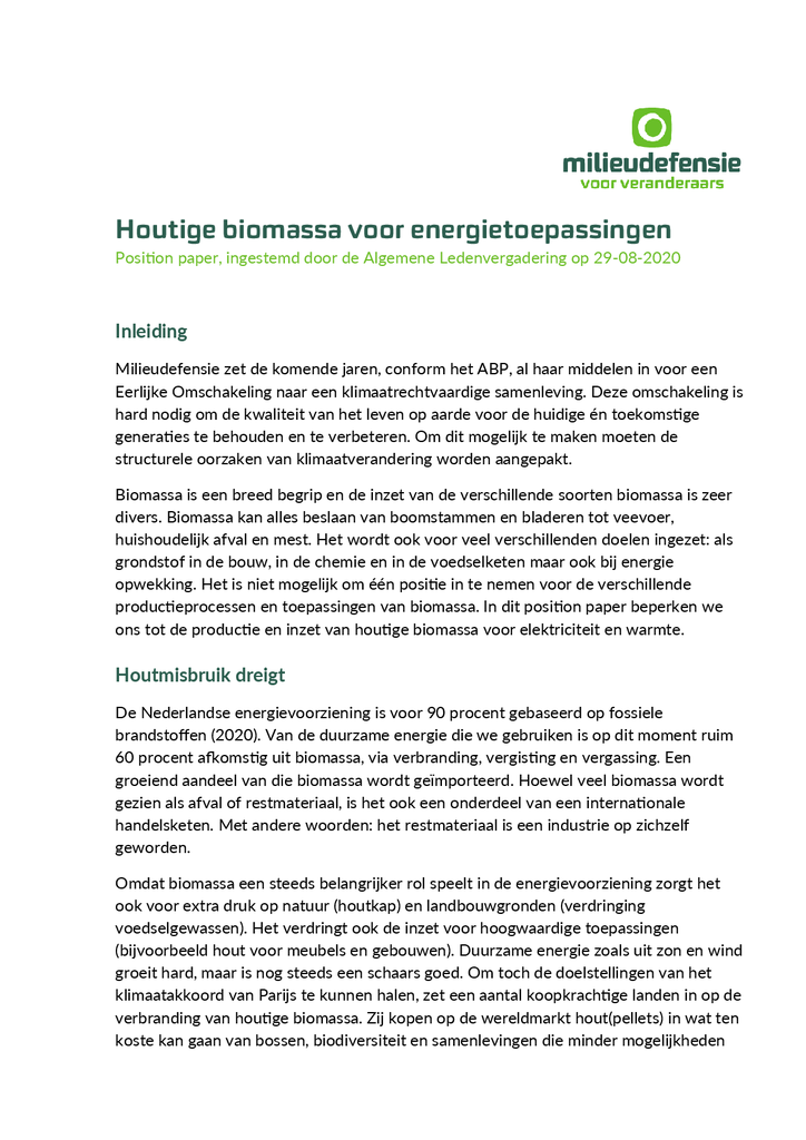 Voorbeeld van de eerste pagina van publicatie 'Position paper: houtige biomassa voor energietoepassingen'