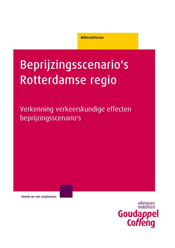 Voorbeeld van de eerste pagina van publicatie 'Rapport: Beprijzingsscenario's Rotterdamse Regio'
