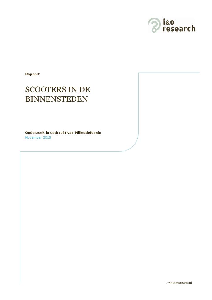 Voorbeeld van de eerste pagina van publicatie 'Rapport: Opiniepeiling Scooters in de binnensteden'