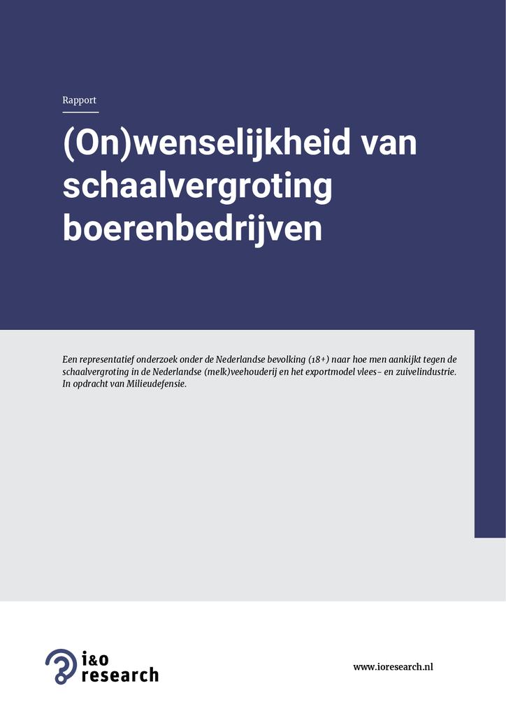 Voorbeeld van de eerste pagina van publicatie 'Rapport: (on)wenselijkheid van schaalvergroting boerenbedrijven'