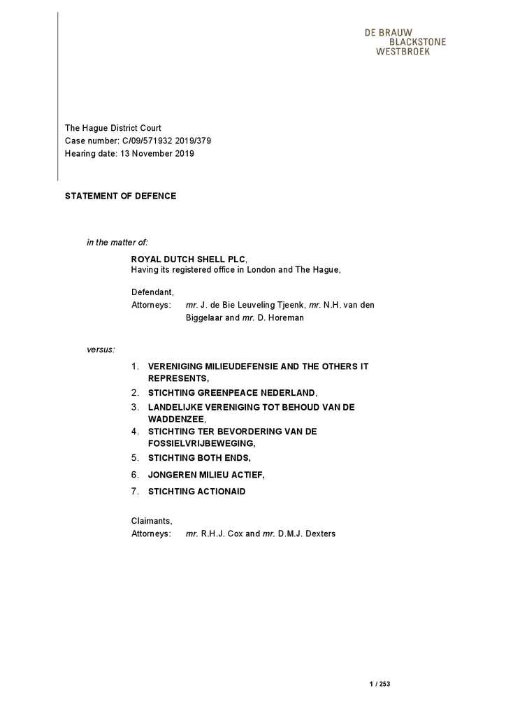 Voorbeeld van de eerste pagina van publicatie 'Statement of defence, Shell 2019'