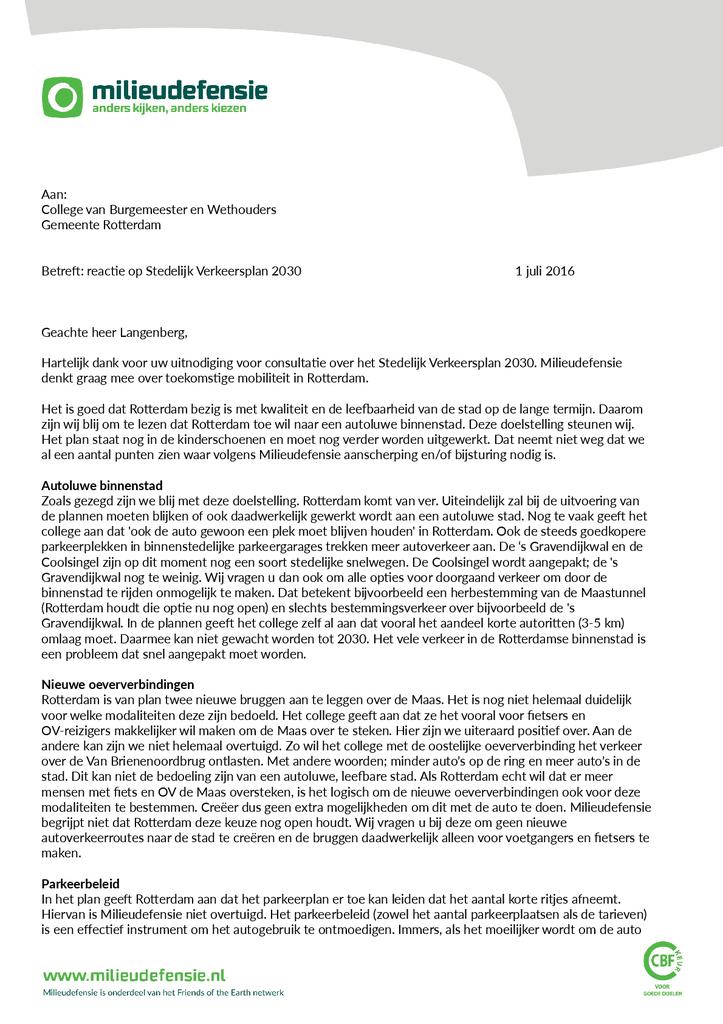 Voorbeeld van de eerste pagina van publicatie 'Reactie op Stedelijk Verkeersplan 2030 Gemeente Rotterdam'