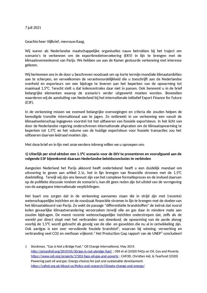 Voorbeeld van de eerste pagina van publicatie 'Oproep aan overheid: presenteer eind oktober een 1,5°C scenario voor exportsteun'