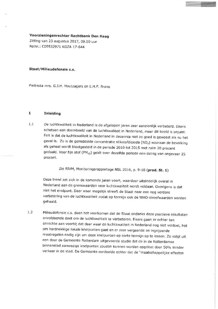 Voorbeeld van de eerste pagina van publicatie 'Rechtszaak tegen de Staat: pleitnota landsadvocaat'