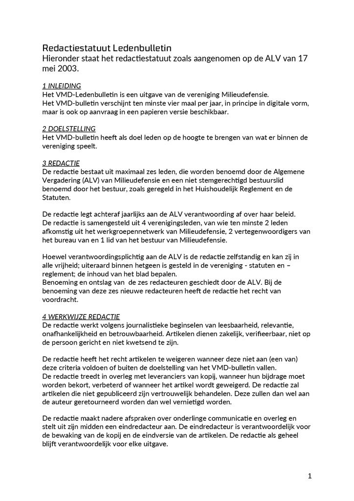 Voorbeeld van de eerste pagina van publicatie 'Redactiestatuut Ledenbulletin'