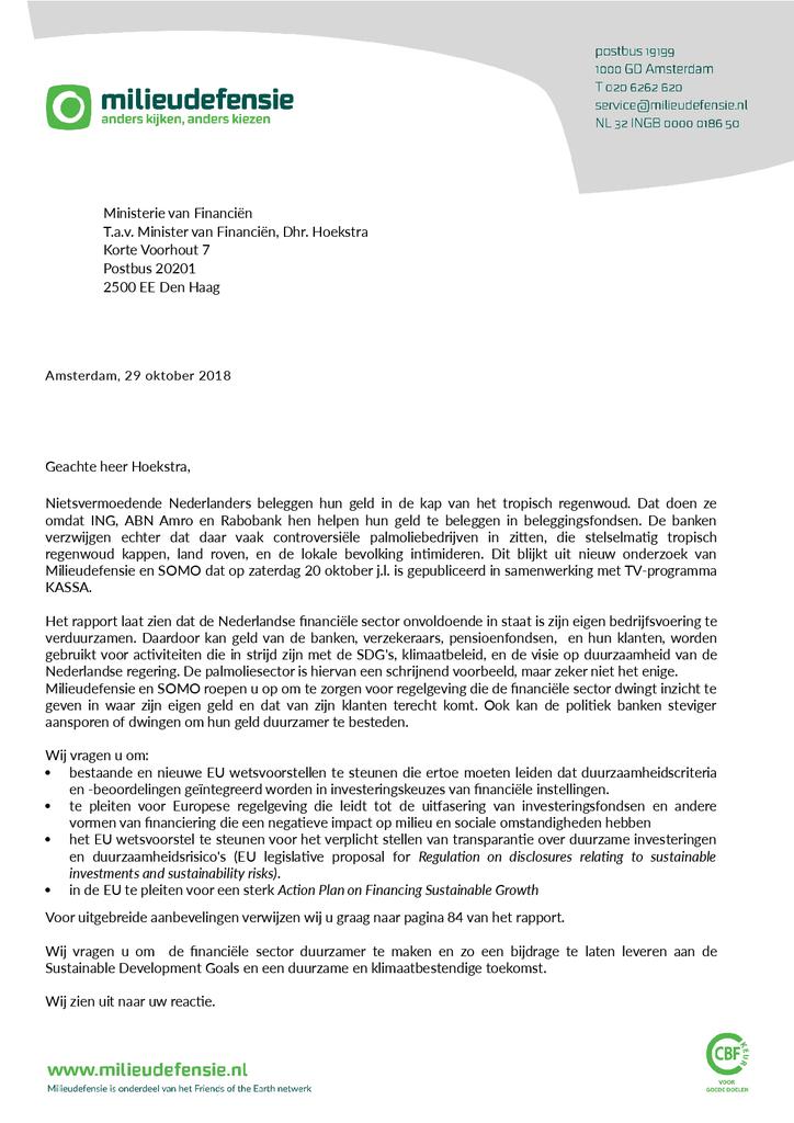 Voorbeeld van de eerste pagina van publicatie 'Lobbybrief: Regelgeving nodig voor financiële sector'
