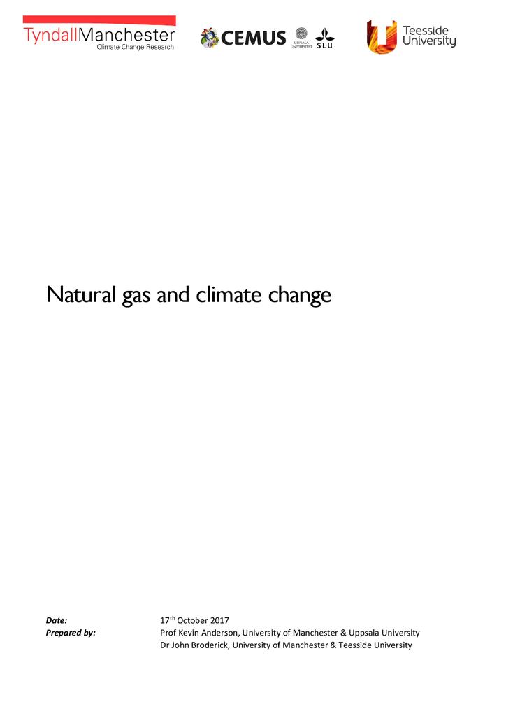Voorbeeld van de eerste pagina van publicatie 'Rapport Natural gas and climate change'