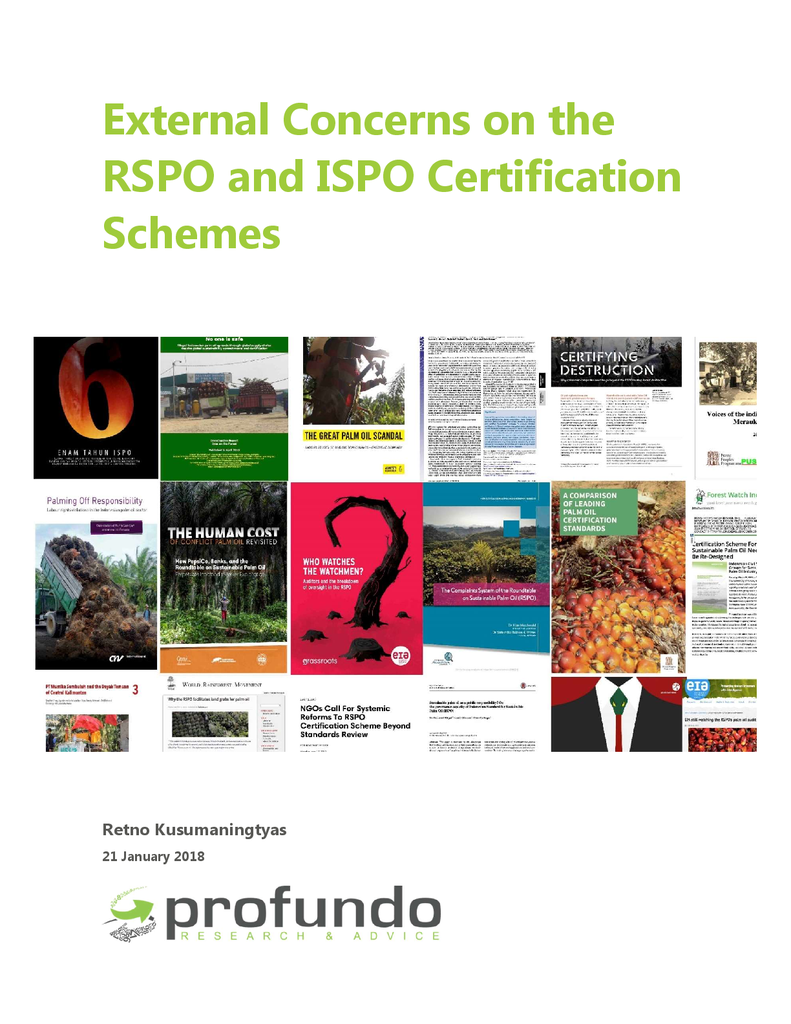 Voorbeeld van de eerste pagina van publicatie 'External Concerns on the RSPO en ISPO Certification Schemes'