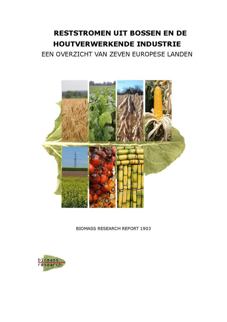 Voorbeeld van de eerste pagina van publicatie 'Onderzoek: Reststromen uit bossen en de houtverwerkende industrie'