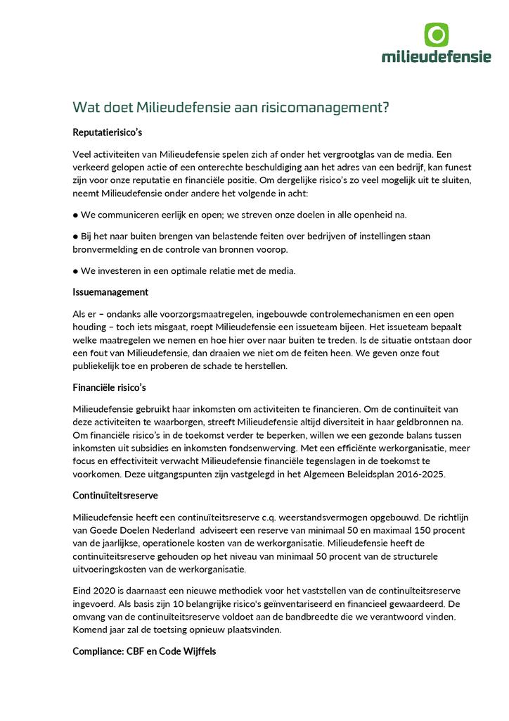 Voorbeeld van de eerste pagina van publicatie 'Risicomanagement'