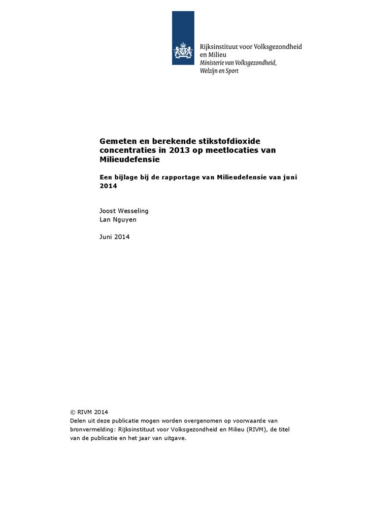 Voorbeeld van de eerste pagina van publicatie 'RIVM: Hoeveelheid stikstofdioxide op meetlocaties van Milieudefensie?'