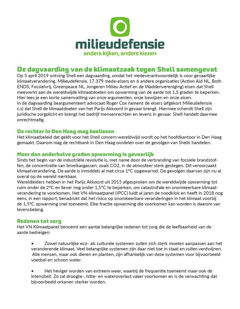 Voorbeeld van de eerste pagina van publicatie 'Korte samenvatting dagvaarding klimaatzaak Shell'