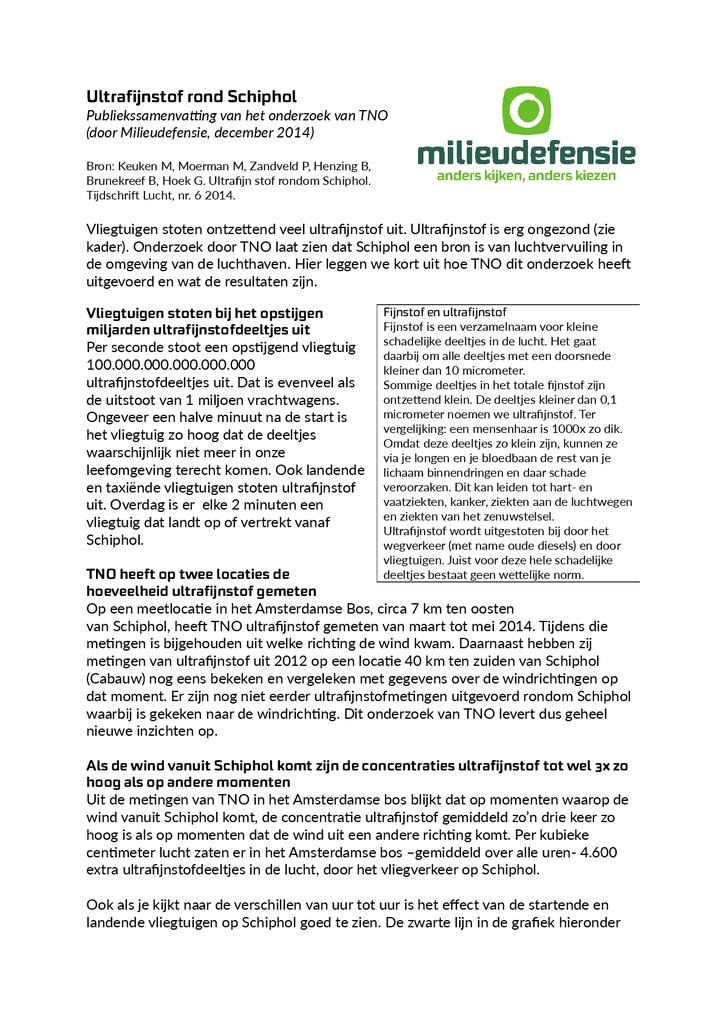 Voorbeeld van de eerste pagina van publicatie 'Samenvatting onderzoek ultrafijnstof rondom Schiphol'