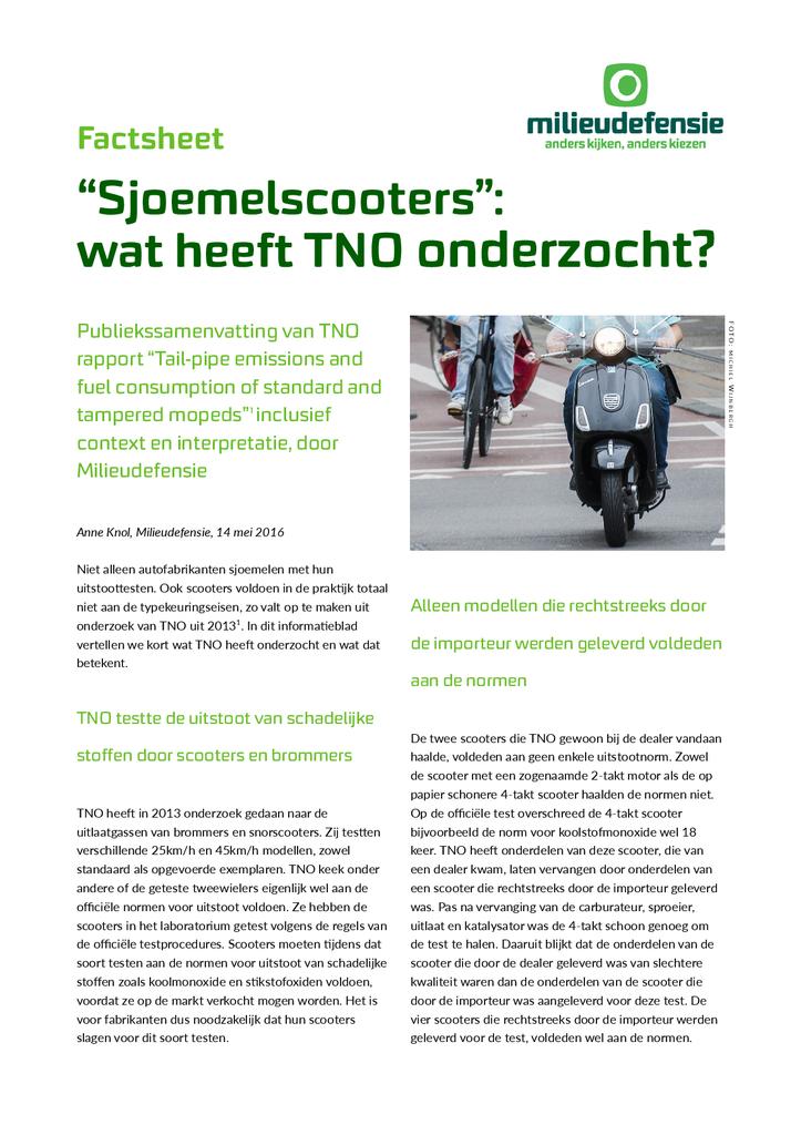 Voorbeeld van de eerste pagina van publicatie 'Samenvatting van het TNO rapport over sjoemelscooters'