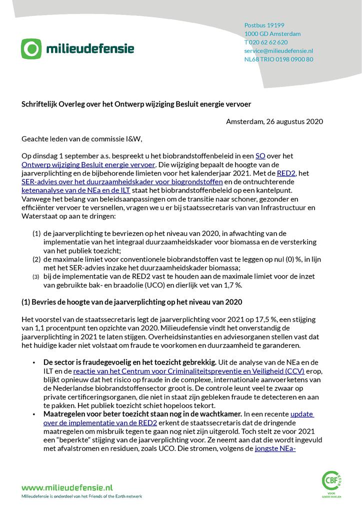 Voorbeeld van de eerste pagina van publicatie 'Brief aan de Tweede Kamer over de inzet van biobrandstoffen in 2021'