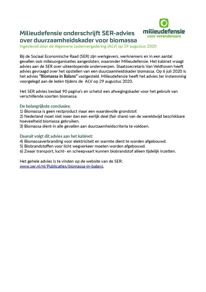 Voorbeeld van de eerste pagina van publicatie 'Milieudefensie onderschrijft SER-advies over duurzaamheidskader voor biomassa'