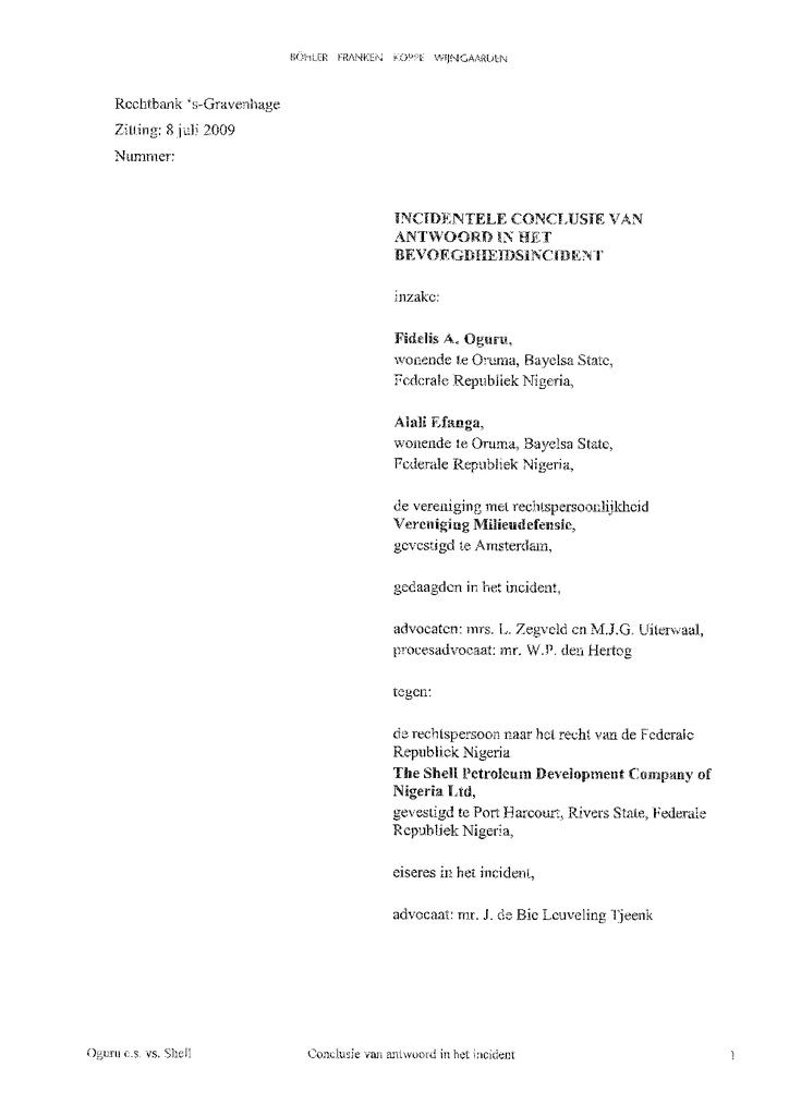 Voorbeeld van de eerste pagina van publicatie 'Reactie Milieudefensie en Nigeriaanse eisers op onbevoegdheids-redenering Shell'