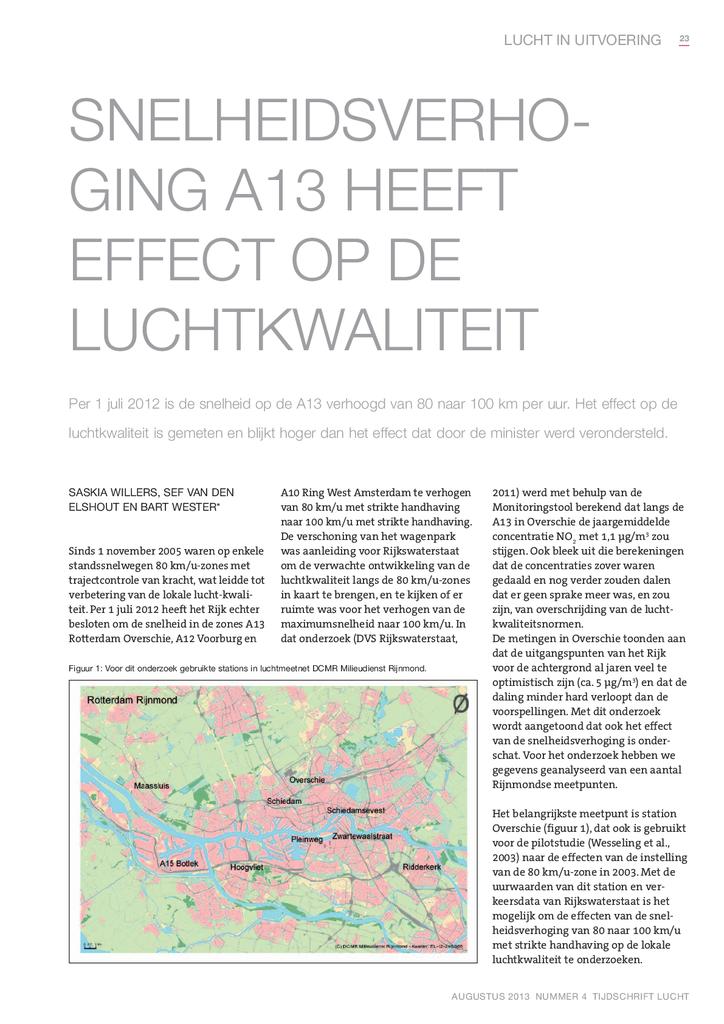 Voorbeeld van de eerste pagina van publicatie 'Tijdschrift Lucht: Snelheidsverhoging A13 heeft effect op de luchtkwaliteit'