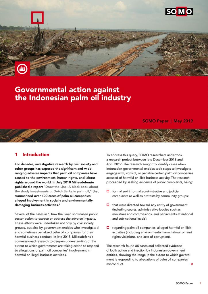 Voorbeeld van de eerste pagina van publicatie 'Onderzoek:  nog steeds geld  naar Indonesische palmolie-industrie, ondanks misstanden'